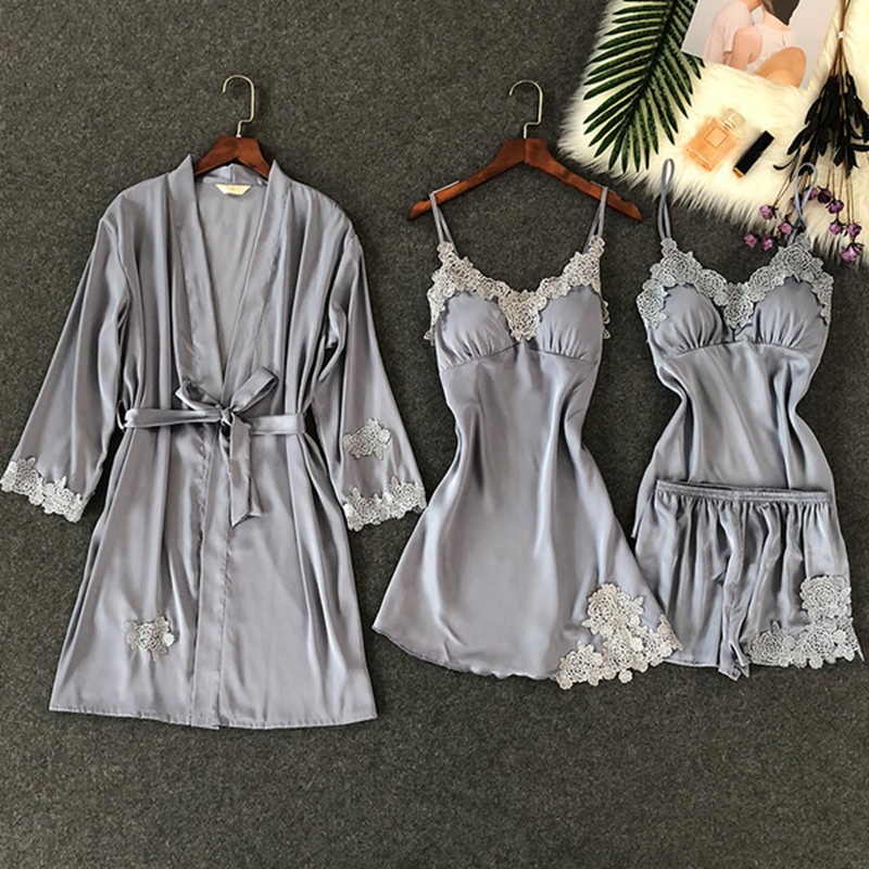 4 Pieces Ladies V-neck   Pajama     Set   Bathrobe padded Nighties Night Gowns Sexy Women Sleepwear Red Autumn Nightwear Lace Blue Gray