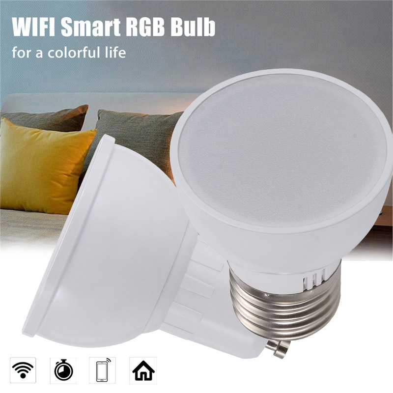 2 pcs WiFi Smart Lights Bulb 22 LEDs Lamp Bombillas RGBW 5W Lampada APP Remote Dimmable Work with Alexa Google IFTTT