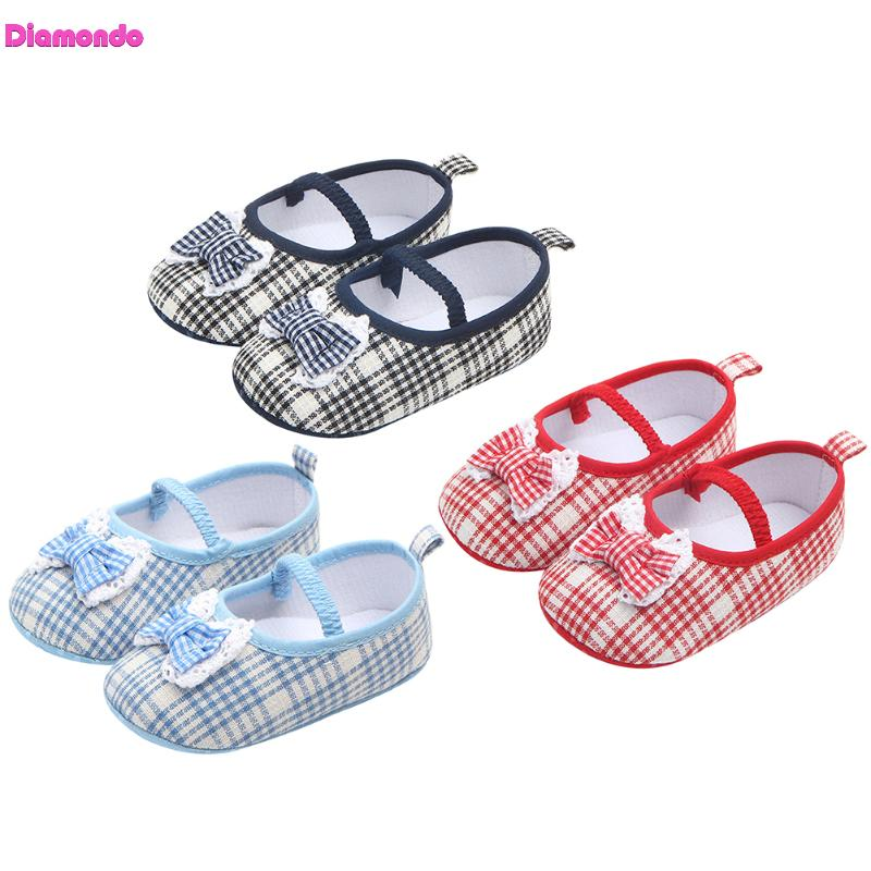 Spring Baby Girls Princess Prewalker Cute Plaid Bowknot Cotton First Walkers Newborn Outdoor Anti Slip Soft Solded Dancing Shoes