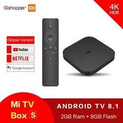 شياو mi mi TV Box S تي في بوكس أندرويد 8.1 النسخة العالمية 4K HDR رباعية النواة بلوتوث 4.2 مربع التلفزيون الذكية 2GB DDR3 التحكم الذكي