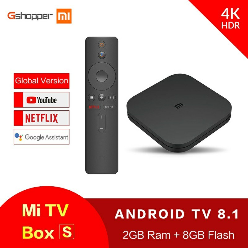 Xiaomi Mi TV Box S Android TV Box 8.1 Versioni Global 4K HDR katër-core Bluetooth 4.2 Kutia e zgjuar e TV 2 GB DDR3 Kontroll i zgjuar