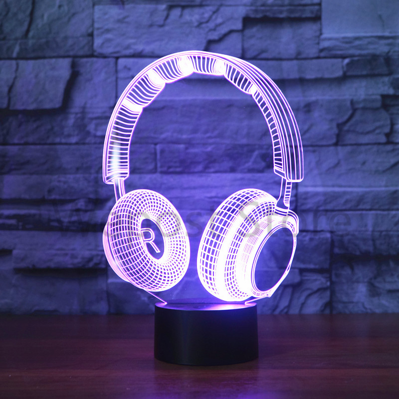 Lighting Lamp: 3D DJ Headphone Design Night Lamp Music Monitor Headset