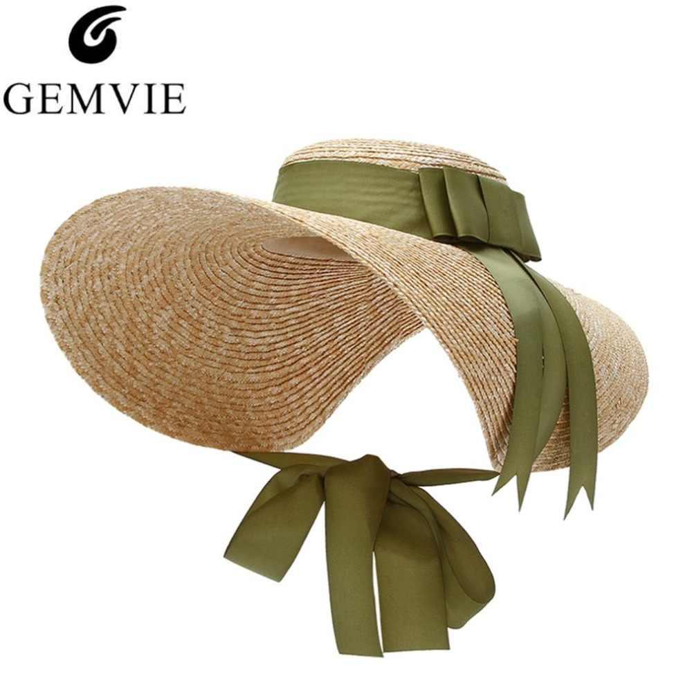 2767387d601 Trendy Floppy Straw Hat Women Large Brim Sun Hats Ribbon Bow Elegant Lady  Beach Cap Panama