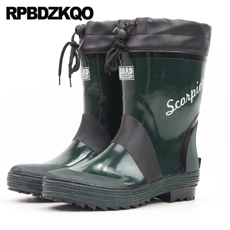 Non Slip High Sole Casual Platform Green Rain Plus Size Ankle Waterproof On Pvc Rubber Fishing Boots Men Cheap Shoes Thick Soled france tigergrip waterproof work safety shoes woman and man soft sole rubber kitchen sea food shop non slip chef shoes cover