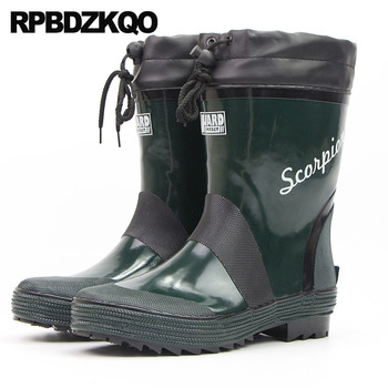 Non Slip High Sole Casual Platform Green Rain Plus Size Ankle Waterproof On Pvc Rubber Fishing Boots Men Cheap Shoes Thick Soled