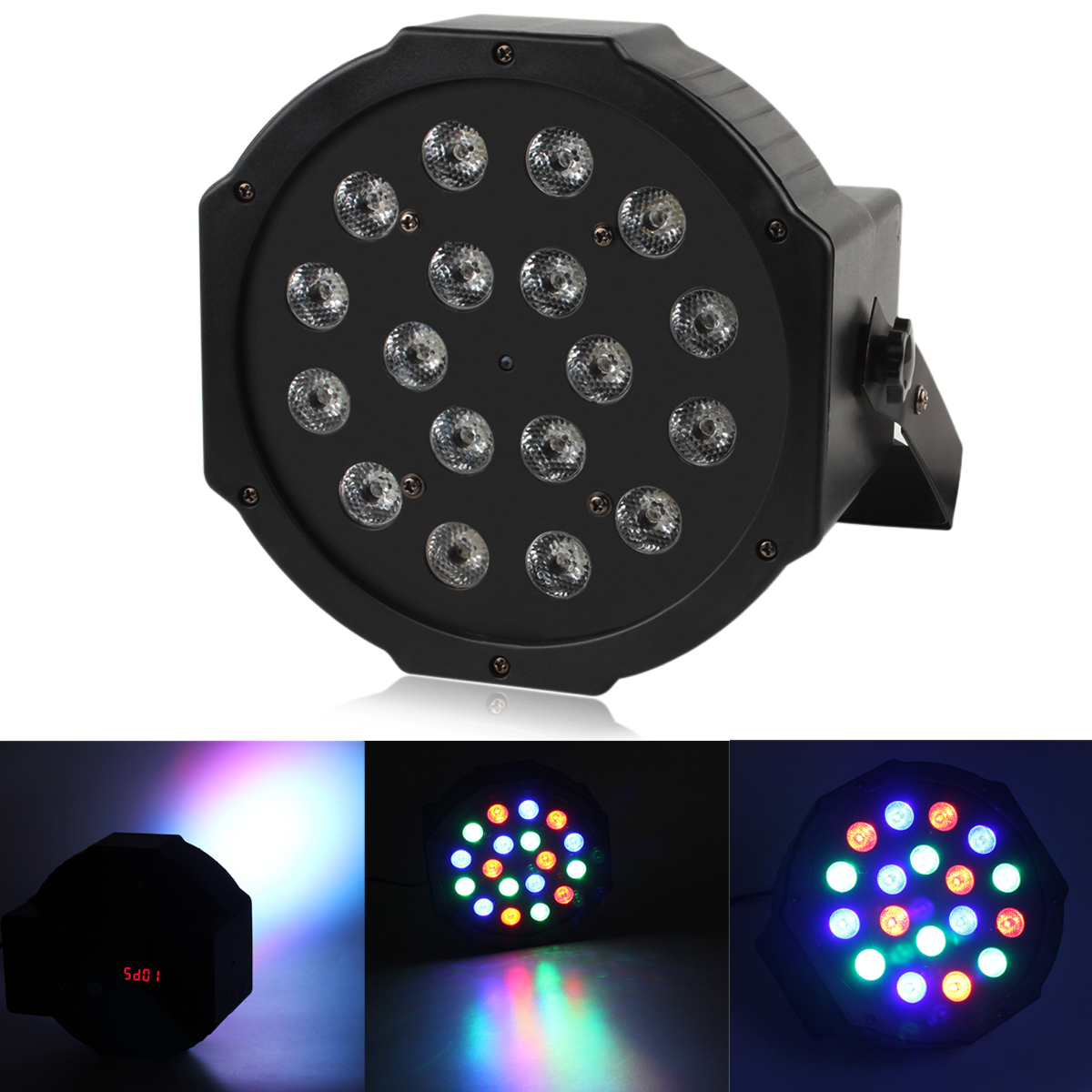 New 54W 18 RGB LED Stage Lighting Effect DMX512 Master-Slave Led Flat Voice Control Stage Light for DJ Disco Party KTV