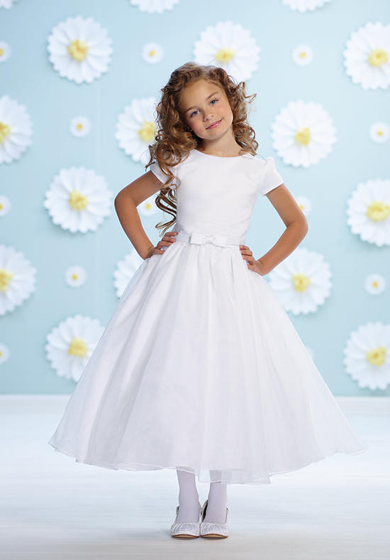 White Flower Girls Dresses For Wedding Gown Long Glitz Pageant Dresses for Little Girls A-Line Communion Mother Daughter Dresses