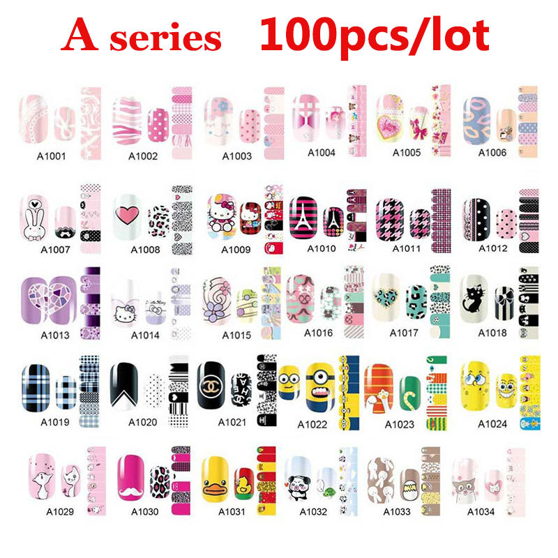 100pcs Full Cover Self Adhesive Polish Foils Nail Art Stickers Decals DIY Manicure Beauty Nail Wraps Decoration Wholesale 160designs 100pcs lot hot water transfer nail art stickers full cover flowers cartoon diy beauty nail decals decoration