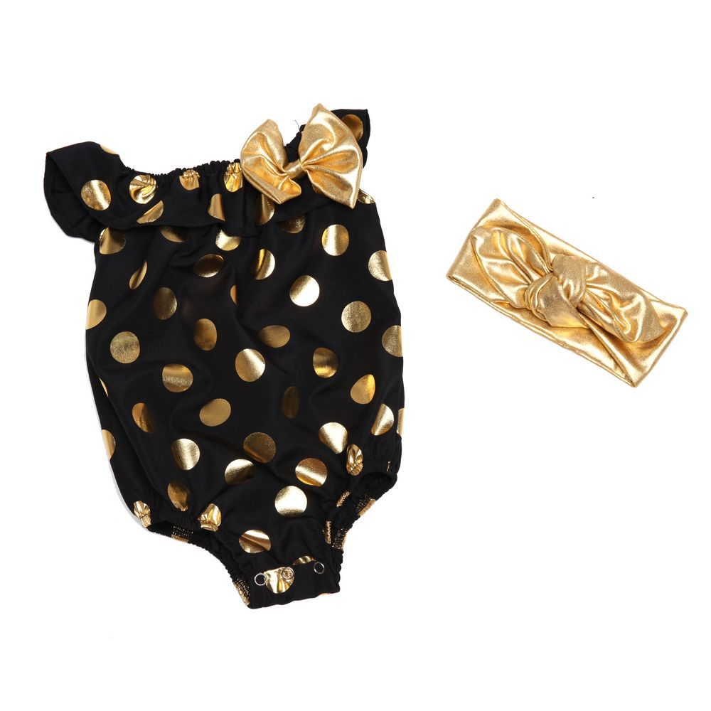 173d925c61a2 2pcs set with headband gold polka dots Boho Bubble Romper Baby Romper 1st  birthday girls outfit