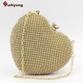 Hot Selling Women Party Rhinestone Evening Bags Crystal Glitter Heart-shaped Wedding Bride Bridesmaid Handbag Day Clutches