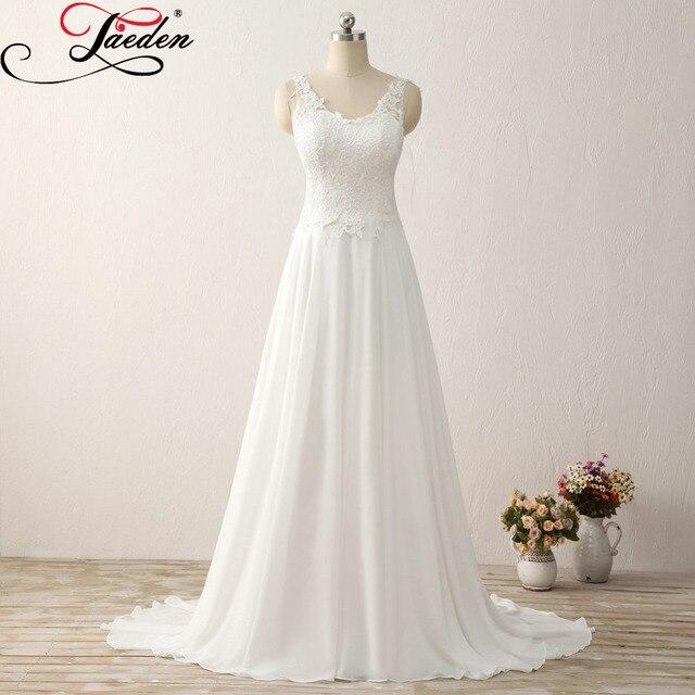 14b7f5312e9 JAEDEN Simple Chiffon Beach Wedding Dresses Appliques Floor Length Sexy  Back Real Photo 2017 E597 Cheap