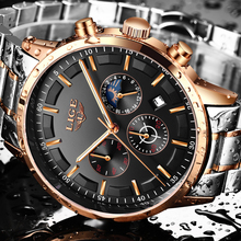 купить Relogio Masculino LIGE Watch Men Fashion Sports Quartz Clock Mens Watches Top Brand Luxury Moon phase Business Waterproof Watch по цене 1692.76 рублей