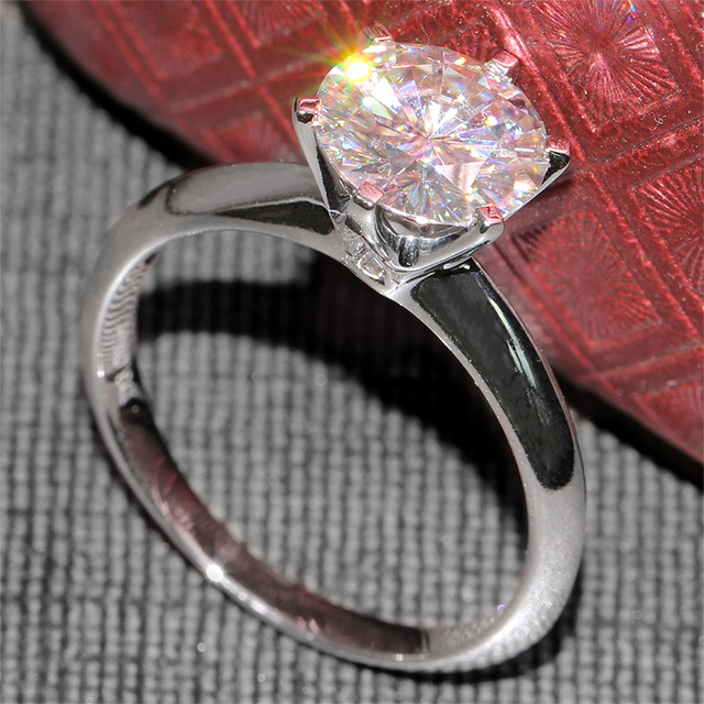 14K 585 White Gold 3CT Lab Grown Diamond Ring