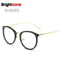 2017 Korean New Pattern Plain Glass Mirror Metal Frame Literature Street Selfie Decoration Blue Light Glasses
