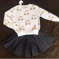BBK Autumn baby girls sweaters cotton gold&silver cherry pattern Pullover Warm sweater jacket boy Cloths Knit Loose Top kids C*