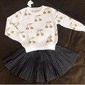 BBK Outono meninas do bebê blusas de algodão gold & silver cereja padrão pulôver Quente jaqueta menino Panos de Malha Top Solto crianças C *