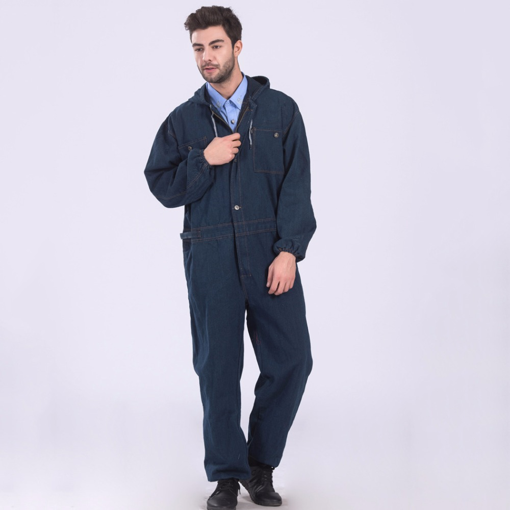 Men Denim Overalls Long Sleeve Large Size Work Clothing Hooded Working Coveralls Factory Uniforms Dust-proof Welding Auto Repair classic men plus size denim bib overalls multi pockets washed blue oversized jean jumpsuits for male big and tall