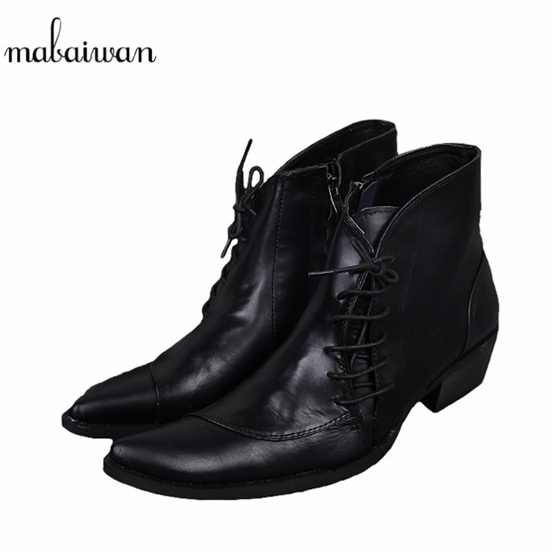 Mabaiwan Fashion Genuine Leather Mens Ankle Boots Pointed Toe Lace Up Wedding Dress Shoes Men Military Boots Mans Footwear fashion pointed toe lace up mens shoes western cowboy boots big yards 46 metal decoration page 8