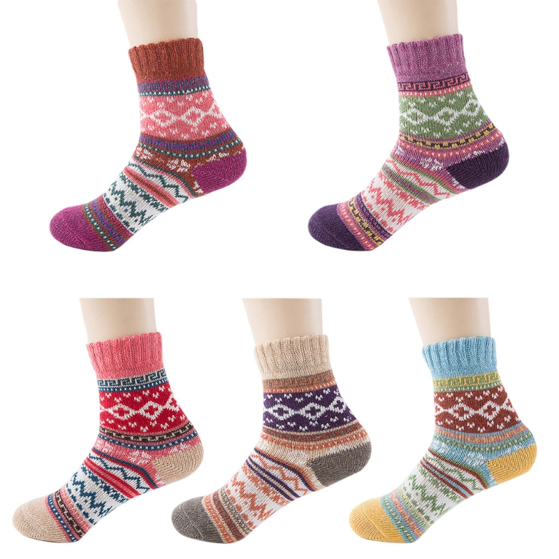 1 Pair Women Ethnic Style Warm   Socks   Wool Cotton Contrast Color Thick Winter New