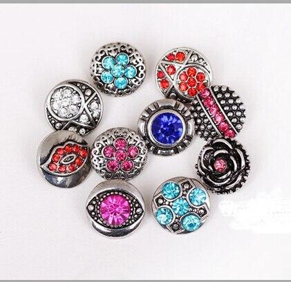 Mix Sales20pcs/sac 12mm cristal montres Snap argent montre bijoux livraison gratuite strass montres snap argent montre