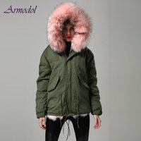 Fashion Winter Women Fur Jacket light Pink Real Fox Fur Jacket Short Parka With Big Raccoon Hood
