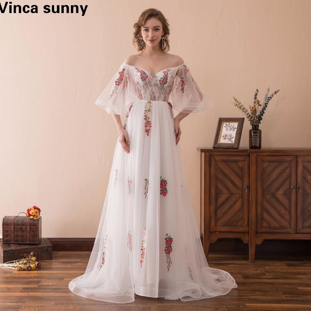 Vinca sunny 2018 Կարճ թև Backless A-Line ծաղկային - Հատուկ առիթի զգեստներ - Լուսանկար 1