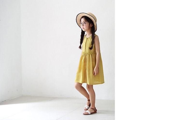 53dbc4a9c6c7 ... kids baby girls sleeveless dresses summer 2018 with button princess  little teenage girls dress yellow striped ...