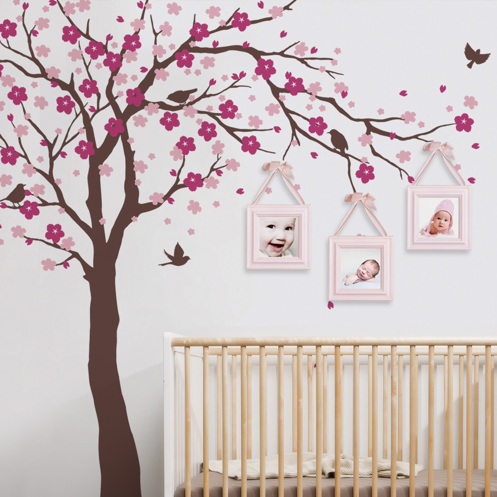 cherry blossom tree wall decals baby room nursery large tree with flowers wall stickers for kids. Black Bedroom Furniture Sets. Home Design Ideas