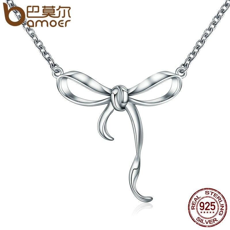 BAMOER Hot Sale 100% 925 Sterling Silver Twist Bowknot Penda