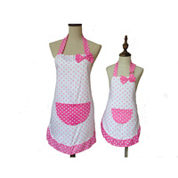 Lovely Cute Bowknot Mother And Daughter Apron Cotton Polka Dot Ruffled Kitchen Apron Avental De Cozinha