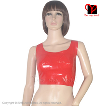 Red Sexy Latex crop top Rubber bra top with bust Cup Lingerie Gummi bikini underclothes halter bustier breast plus size XXXL