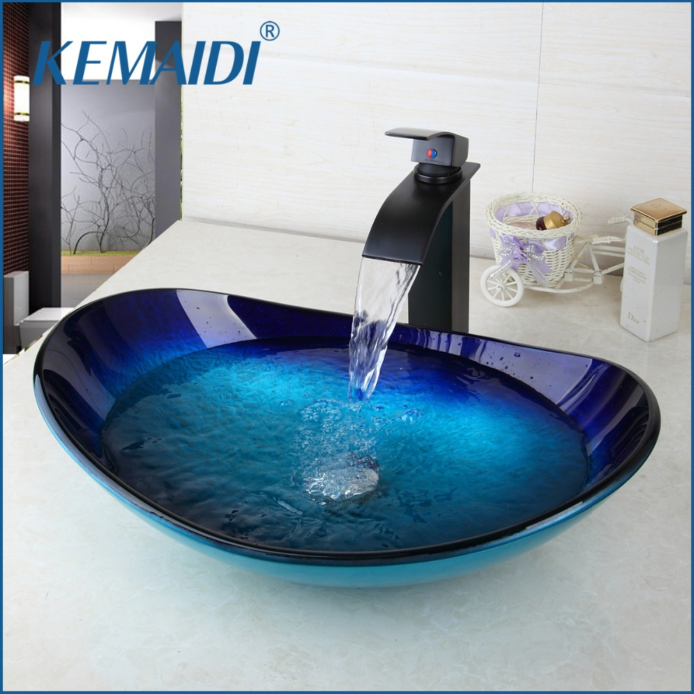 KEMAIDI New Combo Set Mixer Round Taps Sink Faucet Vessel Drain Bathroom Glass Basin Vanity Waterfall