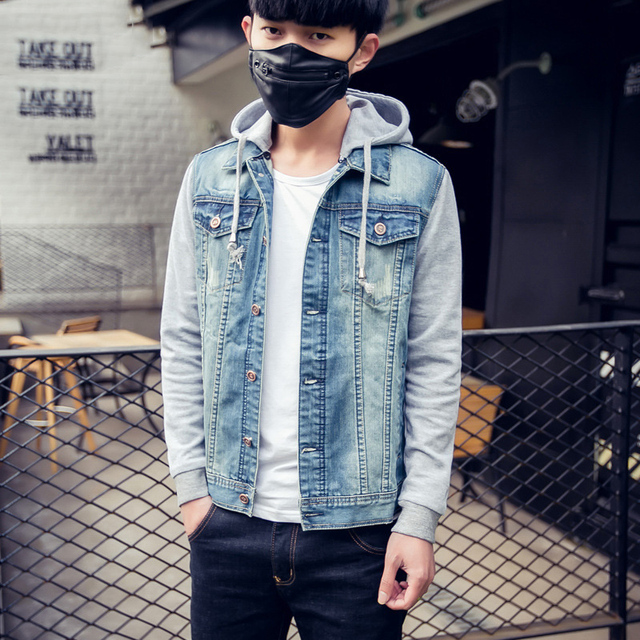 4f0f6ba176 Casual Denim Jacket For man European and American Style men spring overcoat  Hooded Hat Detachable Design hombre casacos M-XXL