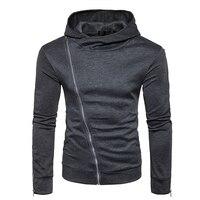 HOT2017 winter autumn Fashion men hooded jacket inclined zipper hip hop fleece solid teenagers joker hoodies sweatshirts men