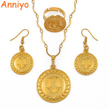 Anniyo Gold Farbe Papua-neuguinea Anhänger Halsketten Ohrringe & Resizable Ring, PNG Nationalen Stil Schmuck sets #091906(China)