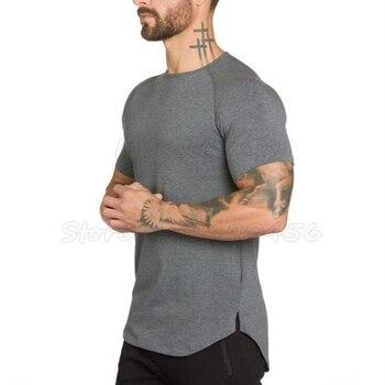Brand gym clothing fitness t shirt men fashion extend hip hop summer short sleeve t shirt