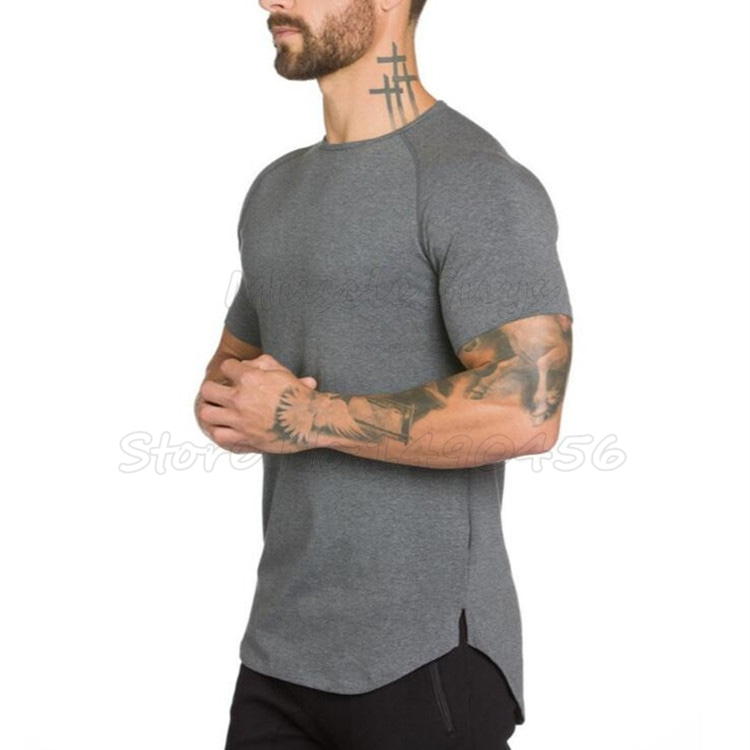 Brand gyms clothing fitness t shirt men fashion extend hip hop summer short sleeve t-shirt cotton bodybuilding muscle guys Brand