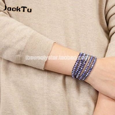 2017 Free shipping handmade coffee stone with pyrite mixed purple leather wrap bracelet
