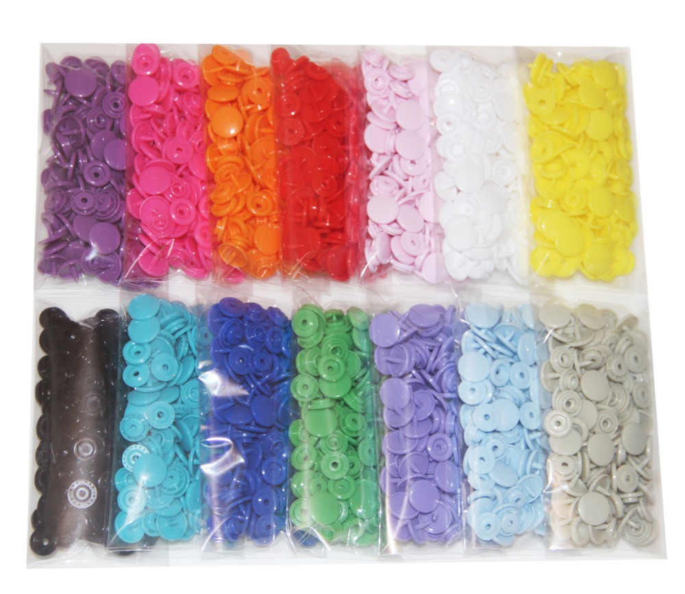 420 Sets 14 Color KAM Snaps Size 20 T5 Plastic Fasteners Punch Poppers Closures No Sew Buttons For Cloth Diaper Bibs Nappies