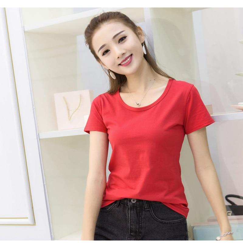 J pinno 100% Maglietta del Cotone Colorato Rosso O-Collo Morbida E Confortevole Magliette e camicette Classico Maglietta di Base per Tutti I Giorni di Estate Casa Casual Delle Donne