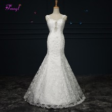 Fsuzwel Sexy Backless Pearls Trumpet Wedding Dress 2019