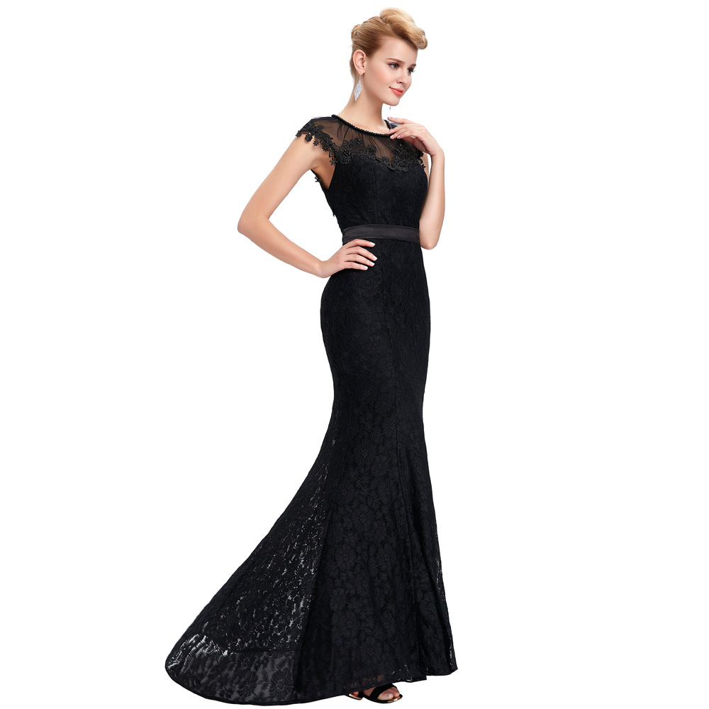 Elegant Sheer Cap Sleeve Long Evening Dress Party Women Lace Mermaid ...
