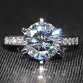 Queen brilliance 6 ct f cor moissanite casamento anel de diamante de noivado com acentos genuine 14 k 585 ouro branco moissanite