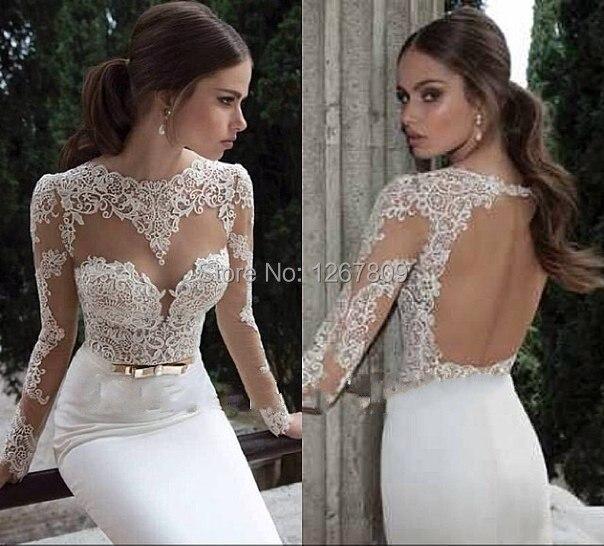 Vestido De Noiva Sexy Open Back Lace Wedding Dresses Long Sleeve Wedding Dress 2019 Lace Wedding Dress