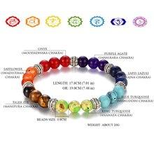 Бусы из натурального камня 7 Чакра браслет для женщин и мужчин Йога Будда игрок маленький/большой 2 размера Dorp браслеты
