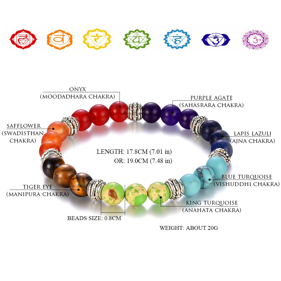 100% all Natural Stone Beads 7 Chakra Bracelet for Women Men Yoga Buddha Player Small / Big 2 Sizes Dorp Shipping Bracelets(China)