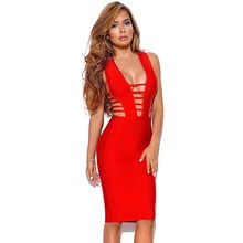 95276f8d44c Factory Price Sexy Hollow Out Deep V Neck Bandage Dress Sheath Zipper Red  Dresses Celebrity Party Club Sleeveless Knit Vestido