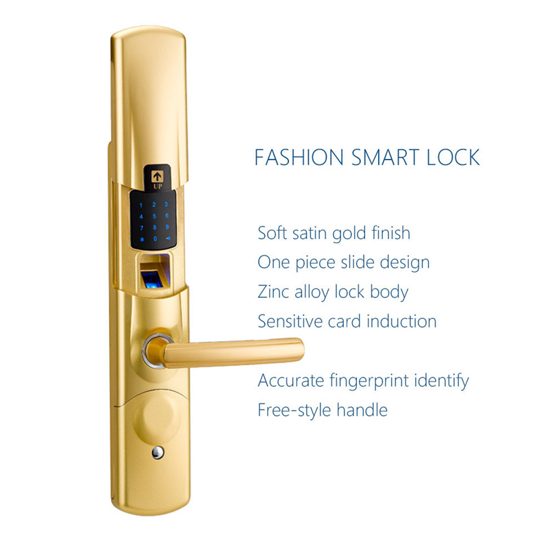 Fingerprint Electronic Door Lock Smart Digital Touch Screen Keypad Password Card Mechanical Key Looks Zinc Alloy SL16-079SG