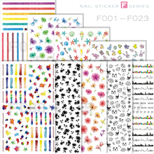 1 Sheet Flower Adhesive White Black Cat Bow Tie Nail Art Sticker DIY Colorful Line Manicure LDG01