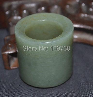 Hj0031 Chinois Vintage Singkiang Jade Fortune Bande Anneau Totem Amulette Sculpture